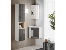 Vanity Cabinet Corner Unit Wall Mounted Bathroom with Sink Grey Gloss - Finka