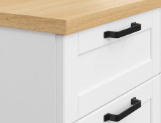 Scandinavian Narrow Chest of 3 Drawers Living Room Storage Unit Soft Closing White/Oak - Haga