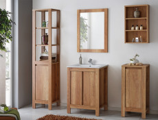 Classic Freestanding Vanity Bathroom Unit Cabinet & Sink 60cm Oak - Classic Oak