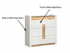Modern Large Chest of 3 Drawers Storage Unit with Lights White Gloss/Oak - Alameda (S420-KOM3S-BIP/DWM/BIP)