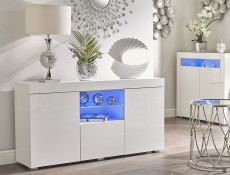 Modern Sideboard Display Cabinet Lowboard White High Gloss Blue LED - Lily