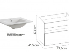 Modern White Gloss Wall Vanity Cabinet 800 Unit with Designer Oak Shelf LED Light Ceramic Sink - Bahama