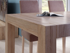 Square Compact Extendable Dining Table in Sonoma Oak Finish - Kaspian