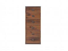 Modern Tall Chest of 6 Drawers Tallboy Slim Bedroom Storage Unit in Dark Oak Effect Finish - Indiana