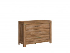 Modern Oak Wide Chest of Three Drawers Living Room Dresser Office Storage - Gent