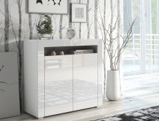 Square Small White High Gloss Sideboard Modern 2 Door Cabinet Unit - Lily