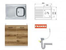 Modern Kitchen Cabinet 800 Cupboard Sink Unit 80cm Light Delano Oak with Single Franke Sink - Junona (K24-DK2D/80/82-BI/DDJ-KPL01+FRANKE)