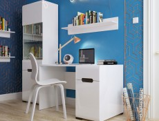 Wide Office Study Desk White Gloss & Oak - Azteca (BIU1D1S/8/12)