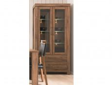 Modern Tall 2 Door Display Glass Cabinet 98cm Storage Unit LED Lights Medium Oak Effect - Gent (S228-REG2W2S/20/10-DAST-KPL01)