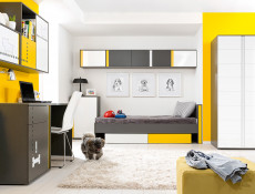 Modern Space Saving Corner Wardrobe Grey Matt and White Gloss Bedroom Reversible Colour Strip - Graphic
