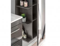 Modern Vanity Bathroom Cabinet Unit with Ceramic Sink Grey Matt & Gloss  - Twist