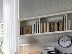White Wall Cabinet Storage Open Unit Shelf 143.5cm Shelving  - Kaspian