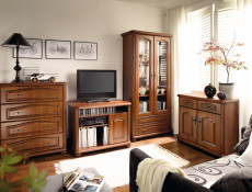 TV Cabinet Unit Classic Style Traditional Living Room Furniture Cherry Finish - Natalia (S41-RTV100-WIP-KPL04)