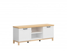 Scandinavian 2-Door Media Bench Table TV Stand Storage Cabinet Unit White/Oak - Haga