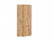 Modern Compact Oak Corner 1 Door Wardrobe with Rail and Shelf - Zele