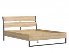 Industrial King Size Bed Frame with Wooden Bed Slats Openwork Headboard Metal Legs Light Oak Effect Finish - Gamla