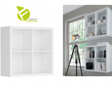Modern White 4 Cube Storage Unit Wall Mounted Shelf Cabinet Display for Hallway Bedroom - Nepo