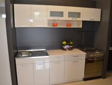 Free Standing White/Cream Gloss Kitchen Glass Wall Cabinet 100cm- Modern Luxe (STO-MODERN_LUX-WS100-PDGR/58-VAN-KP01)