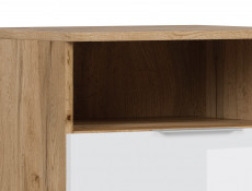 Modern Bedside Cabinet Drawer Storage Unit 50cm White Gloss/Oak- Zele
