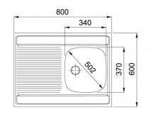 Modern Kitchen Cabinet 800 Cupboard Sink Unit 80cm Sonoma Oak/Wenge with Single Franke Sink - Junona