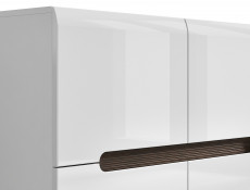 Square Compact Contemporary Sideboard Cabinet White High Gloss and White Matt Finish - Azteca (S205-REG4D/8/11-BIP/WEM-KPL01)