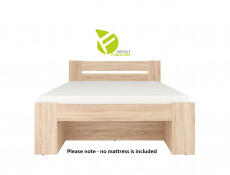 Storage Double Bed Frame in Sonoma Oak Finish with Wooden Slats- Nepo (S435-LOZ3S-DSO-KPL01+WKL140/L16-BK)