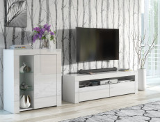 Modern White Gloss TV Cabinet Entertainment Stand Large Media Unit 155cm - Lily