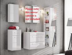 Modern 5-Piece Wall Bathroom Furniture Set Cabinet Storage Units Soft Close White/White Gloss - Twist