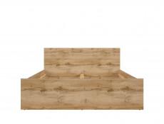 Modern Double Bed Frame in Oak finish with Headboard Slats - Zele (S383-LOZ/140-DWO)