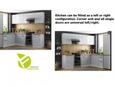 Light Dove Grey Gloss Kitchen Units Corner Set of 10 Cabinets Cupboard Universal Modern Fit  - Luna (STO-LUNA-SET-10UNITS-CORNER-SZ-SZP)