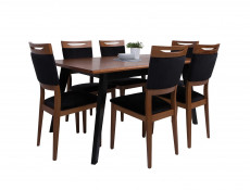 Retro Dining Chair Solid Wood Frame Upholstered Seat Black/Brown Oak - Madison