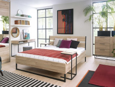 Industrial Bedroom Furniture Set 5 Piece with King Size Bed & Sideboard Metal Frame Oak - Gamla (GAMLA-BEDROOM-1)