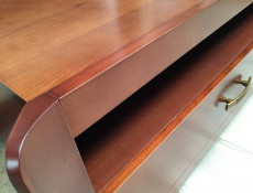 Traditional TV Cabinet Unit with Drawer Solid Wood Cherry Finish- Alevil