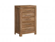 Modern Tall Narrow Chest of Five Drawers Tallboy Dresser Office Storage Unit Medium Oak Effect - Gent (S228-KOM5S/10/7-DAST-KPL01)