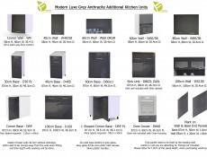 Free Standing Grey Gloss Kitchen Cabinet Cupboard Wall Unit 80cm 800mm - Modern Luxe (STO-MODERN_LUX-W80/58-GREY-KP01)
