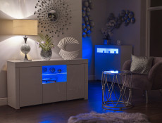 Modern White Gloss Sideboard Glass Display Cabinet TV Unit Lowboard with Multicolour RGB LED Lights - Lily