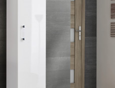 Modern Tall Wall Mounted Bathroom Cabinet Unit White/White Gloss 140cm - Adel