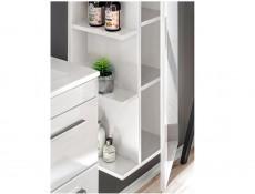Modern Narrow Wall Mounted Storage Bathroom Cabinet Unit White/White Gloss - Twist