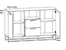 Industrial Large Sideboard Dresser Cabinet Unit with Drawers 150cm Metal Legs Light Oak Effect Finish - Gamla