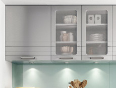 Light Grey Kitchen Wall Cabinet with Glass Doors 80cm Cupboard Unit - Paula