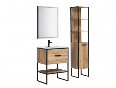 Industrial Free Standing Vanity Bathroom Cabinet Unit 60cm with Ceramic Sink Oak Black Metal - Brooklyn