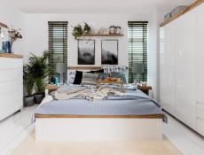 Scandinavian Large White Gloss & Oak 3 Door Triple Wardrobe Bedroom Storage Unit - Holten (S440-SZF3D2S/A-BI/DWO/BIP-KPL01)