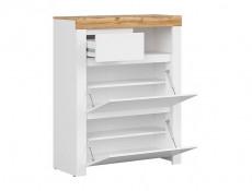 Scandinavian Hallway 5-Piece Furniture Set Storage Units Shoe Cabinet White Gloss/Oak Effect - Holten (S440-HOLTEN-HALLWAY_SET)