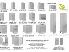 Light Dove Grey Gloss Kitchen Glass Wall Cabinet 80cm Cupboard 2 Door Wall Mounted 800 Unit - Luna (STO-LUNA-WS80-GRF/2-SZ-SZP-KP01)
