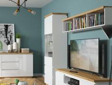 Modern White Gloss & Oak Effect Finish Wall Mounted Floating Display Open Cabinet Shelf Panel Unit 158cm - Erla