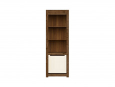 Modern Tall Bookcase Shelf Storage 1 Door Cabinet in Cream Gloss and Dark Oak - Ruso