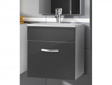 Wall Bathroom Vanity Unit Cabinet & Sink Basin 600mm Grey Gloss - Coral (STO-CORAL-DUM_60S/1_YRSA-BI/SZP-KP01)