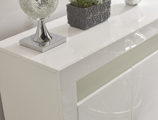 Square Small Sideboard Display Cabinet White High Gloss with Blue LED Light - Cheri (KOM2D+LEDBlu10yr)