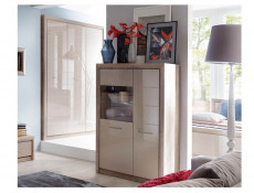 Wide Display Cabinet in Beige Gloss and Oak finish - Koen 2