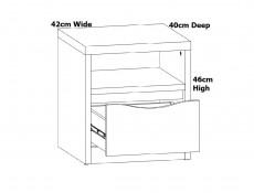 Modern Bedside Cabinet One Drawer Side Storage Unit Table White Gloss Oak Effect Finish - Pori